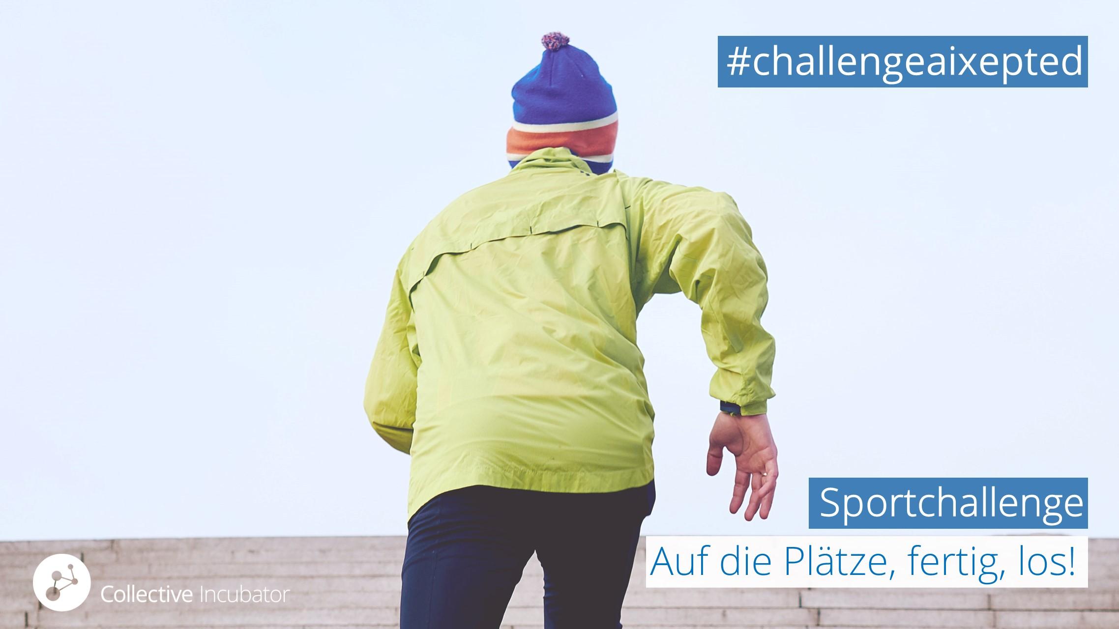 Sportlicher junger Mann joggt Kilometer für die CI Sportchallenge