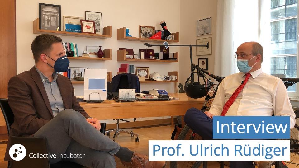 Rektor Prof. Ulrich Rüdiger in seinem Büro im RWTH-Hauptgebäude